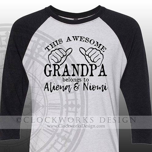 This awesome grandpa belongs to,personalized grandkids,grandpa shirt,shirts
