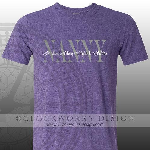 Personalied Nanny,Grandma shirt,nana,gigi,yaya,mimi,grandkids,family,