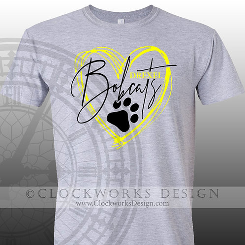 Hand Drawn Heart Drexel Bobcats shirt,black and yellow,school spirit,bobcat