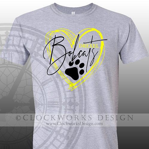 Hand Drawn Heart Drexel Bobcats shirt,black and yellow,school spirit,bobcat