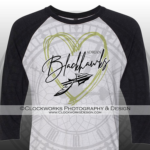 Heart of the Adrian Blackhawks Shirt, School Spirit Shirt, School Spirit