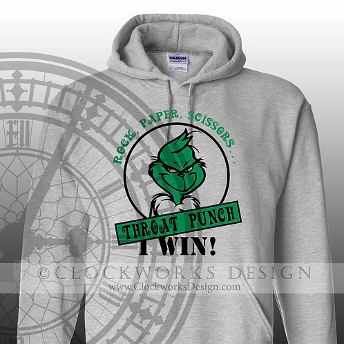 Rock, Paper, Scissors - Throat Punch Hoodie, Christmas Hoodie, Hoodie for Women, Hoodie for Men, Throat Punch, Grinch