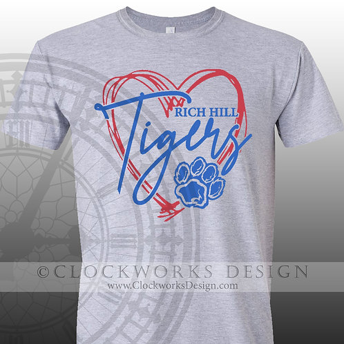 Hand Drawn Heart Rich Hill Tigers,shirt,blue and red,school spirit,Tigers pride