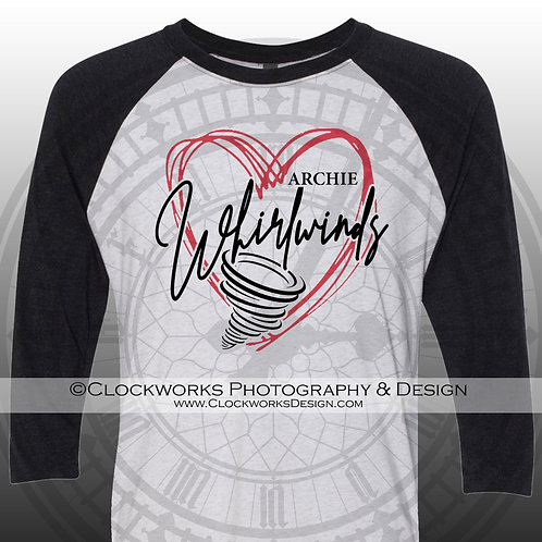 Hand Drawn Heart Archie Whirlwinds shirt,black and red,school spirit,whirlwind