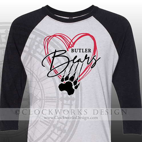 Hand Drawn Heart Butler Bears shirt,black and red,school spirit,bears pride