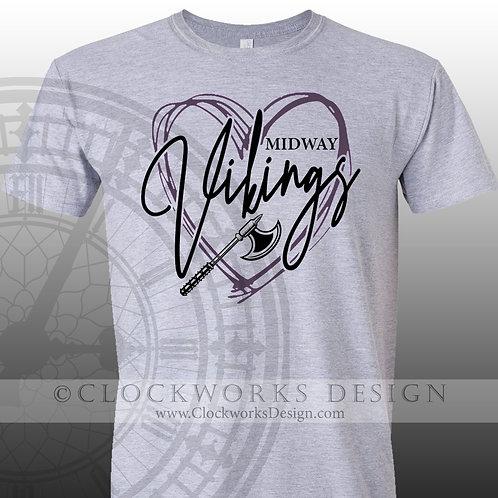 Hand Drawn Heart Midway Vikings shirt,purple and black,school spirit,Vikings
