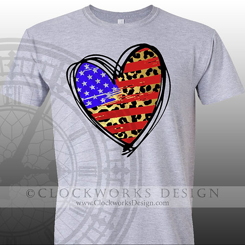 American Flag leopard Heart,4th of July shirt,shirt for her,shirts,independence