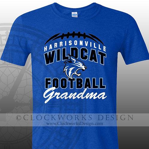 Football Shirt,Harrisonville Wildcat Football,personalized team,grandma,grandpa,