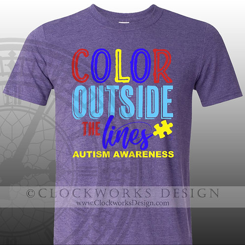 Autism Awareness.Color Outside the Lines, shirt,shirts,shirts with sayings