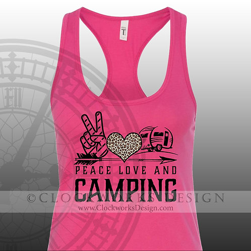 Peace Love and Camping,leopard,camp,vacation,Shirts-with-Sayings,lake,swimming