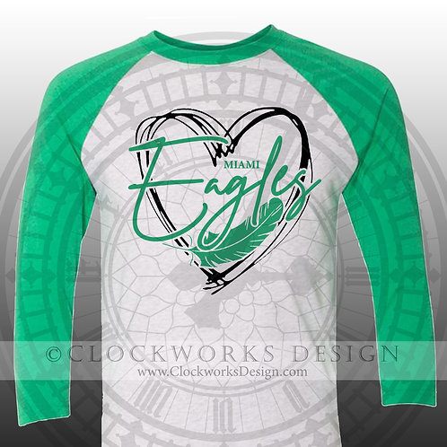 Hand Drawn Heart Miami Eagles shirt,green and white,school spirit,eagle pride