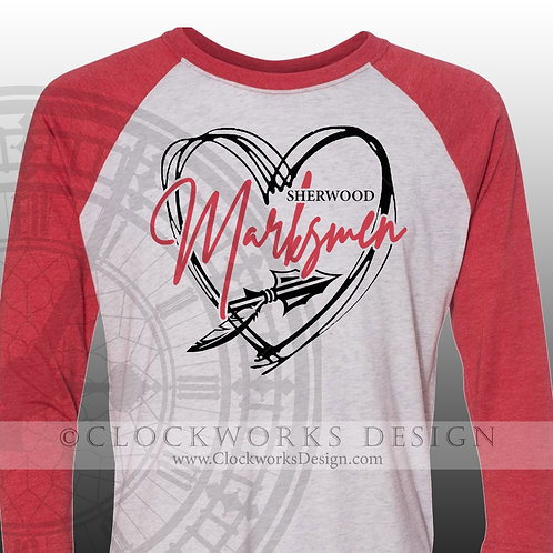 Hand Drawn Heart Sherwood Marksmen shirt,black and red,school spirit,markesmen