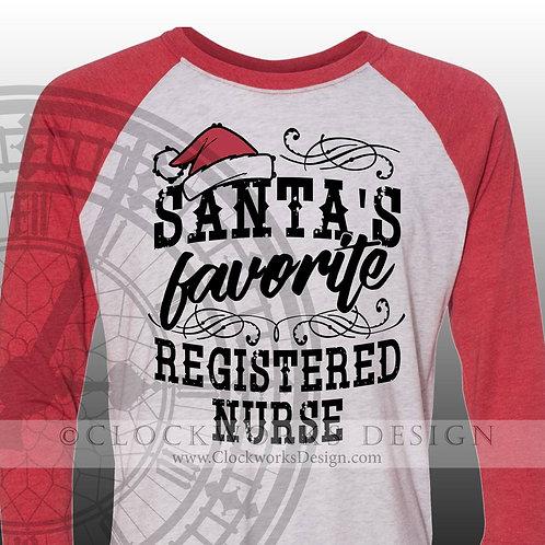 Santa's Favorite Career Personalized Shirts, Christmas Shirt, Shirt for Women, Shirt for Men, Registered Nurse Shirt