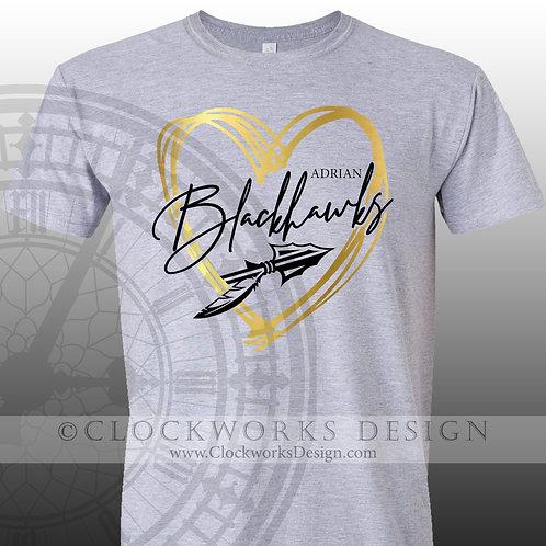 Hand Drawn Heart Adrian Blackhawks shirt,black and gold,school spirit,blackhawk