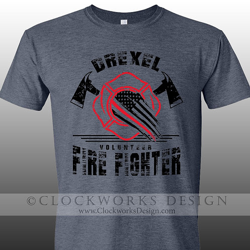 Drexel Volunteer Firefighter tshirt, firefighter