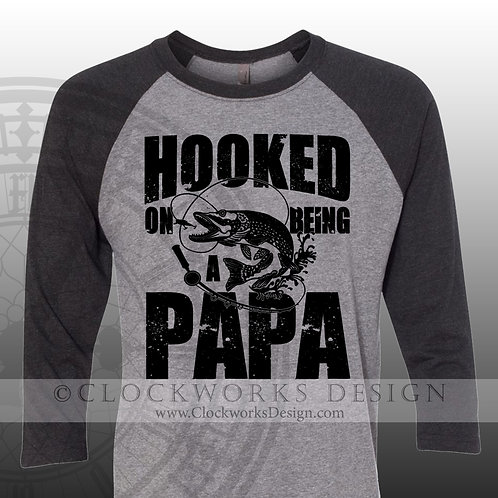 Hooked on being a papa,grandpa shirt,shirts for him,gift for fathers day,mens