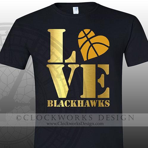 Love Blackhawks tshirt, basketball, school spirit