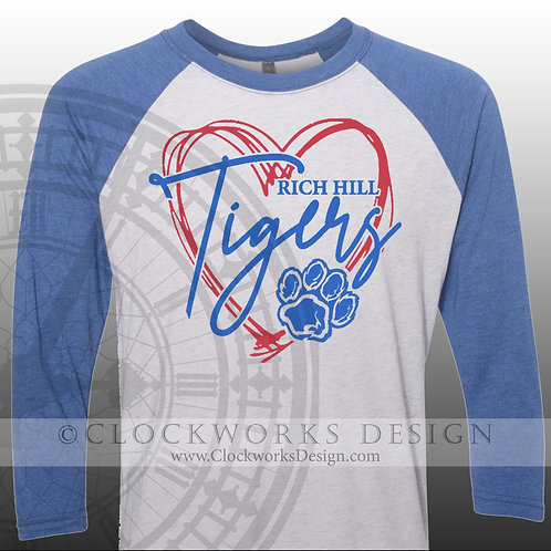 Hand Drawn Heart Rich Hill Tigers,shirt,blue and red,school spirit,Tigers pride,