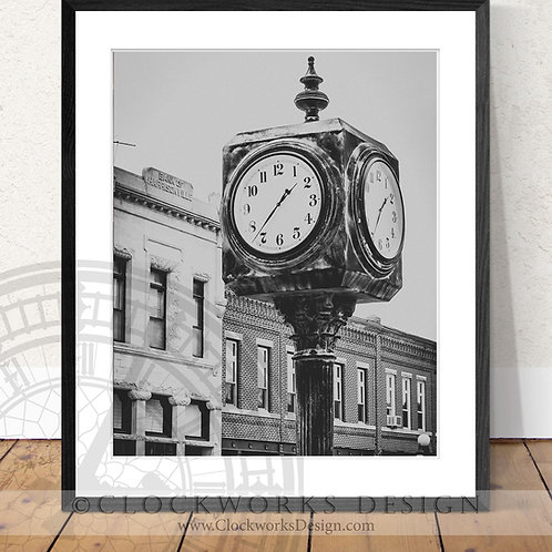 Clock on the Square | Photography Print, clock face, antique, vintage, print