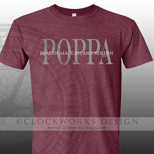 Personalied  Poppa  shirt,papa,grandkids,family,