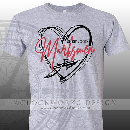 Hand Drawn Heart Sherwood Marksmen shirt,black and red,school spirit,markesmen