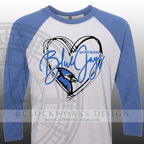 Hand Drawn Heart Montrose Blue Jays shirt,blue and white,school spirit,bluejay