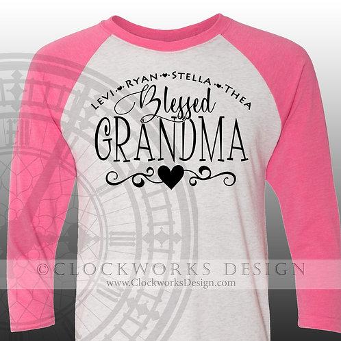 Personalied Blessed Grandma shirt,nana,gigi,yaya,mimi,names,grandkids,family