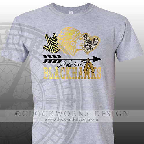 Adrian Blackhawks Love Leopard,team spirit,personalizedblack and gold,school