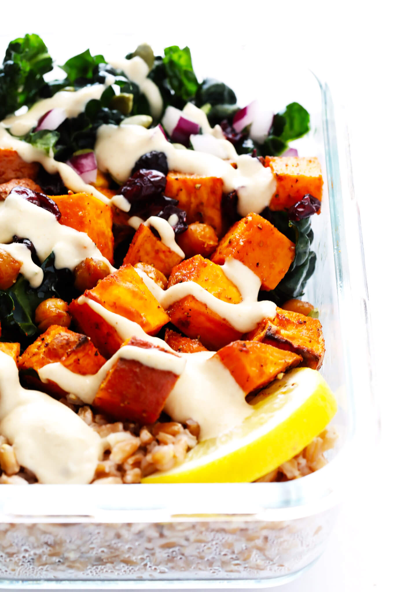 Roasted sweet potato and kale salad