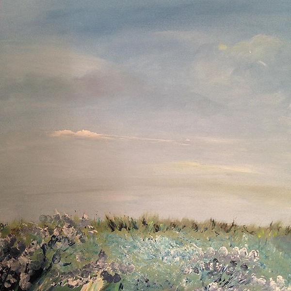 'Sea lavender' Morston marshes oil on bo