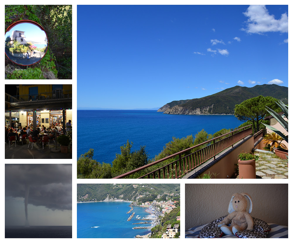 Various scenes of Moneglia, including the view of and from our piece of paradise, Bunny meditating, centrale by night, and a twister in the distance