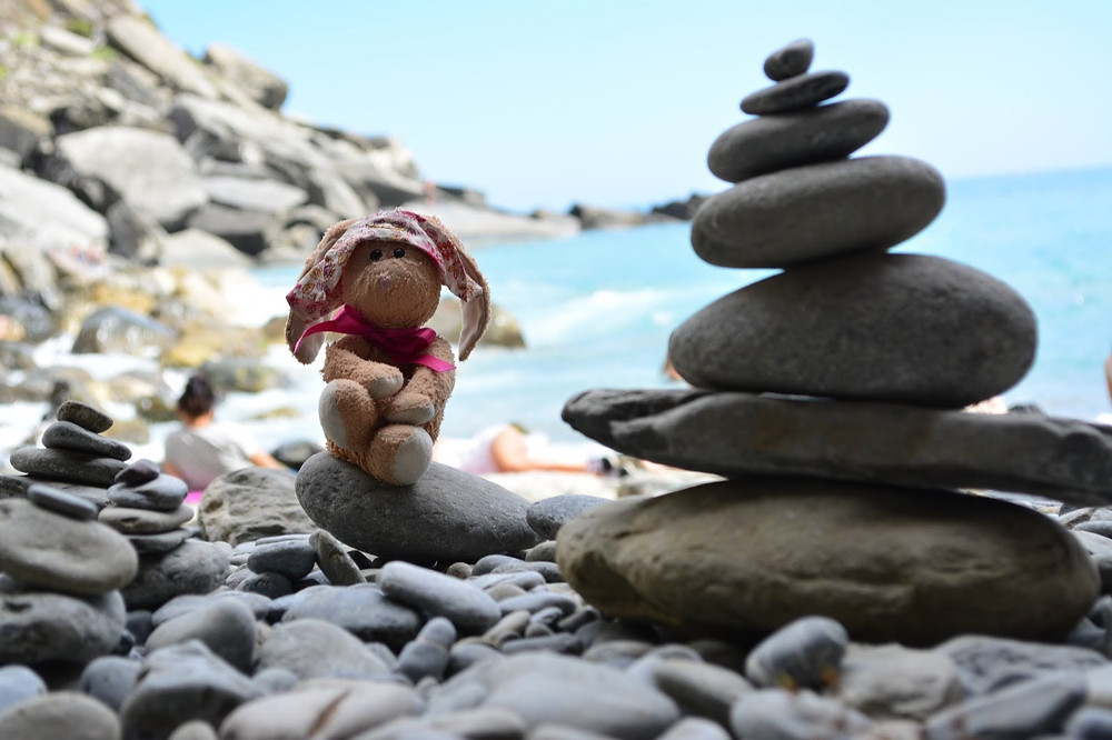Bunny on the beach in Vernazza