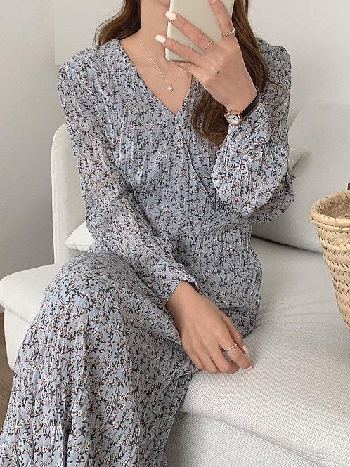 SH802 韓版氣質皺皺碎花連身裙