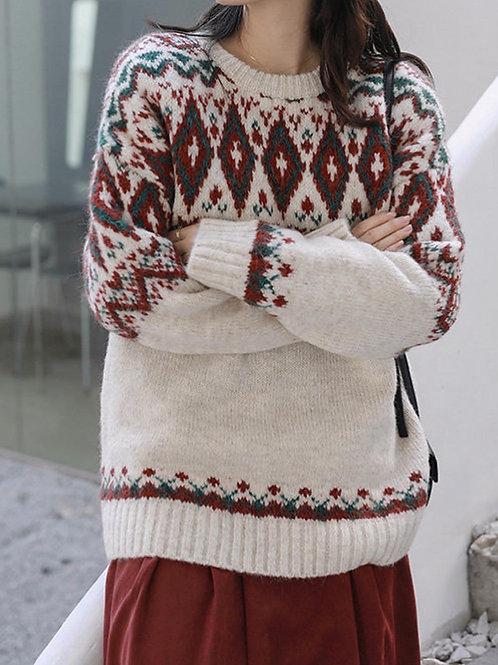 SH674 秋冬復古勾花針織上衣