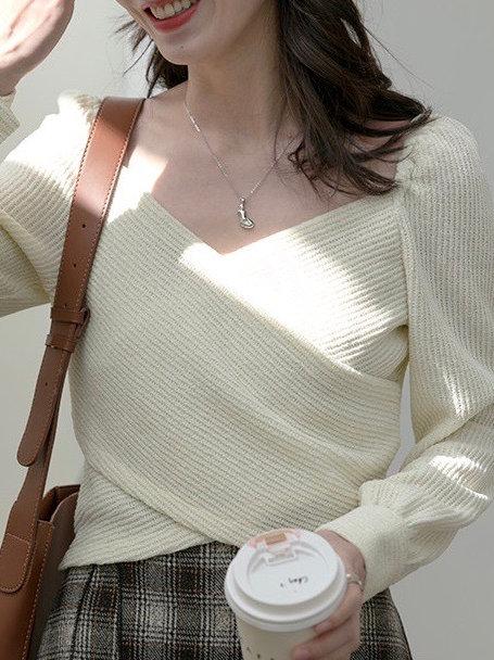 SH715 設計感簡約交叉針織上衣