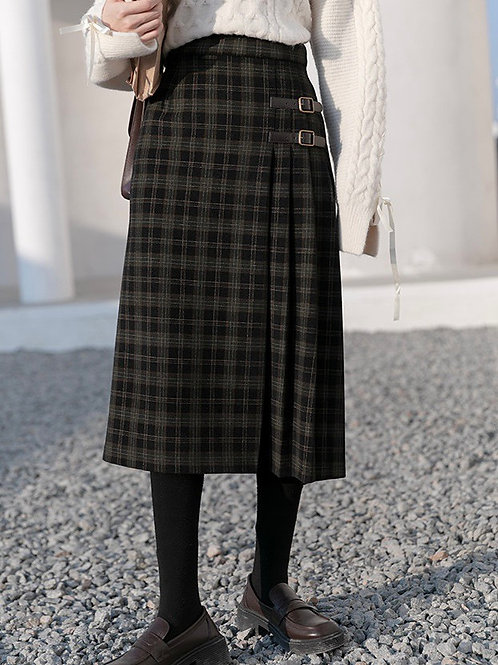 SH675 復古格子設計感半身裙