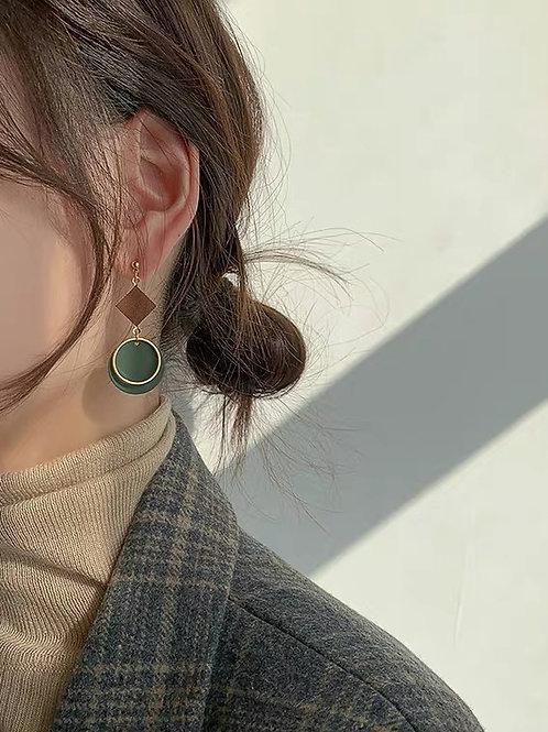 ER025 別緻幾何氣質耳環(925銀針/耳夾)