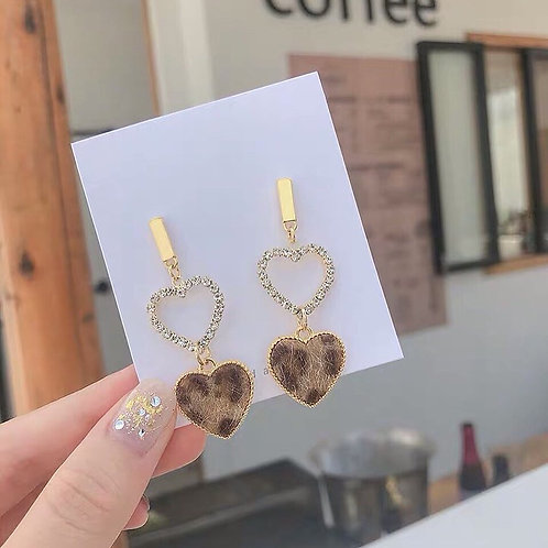 韓風豹紋愛心耳環 (925銀針/耳夾)