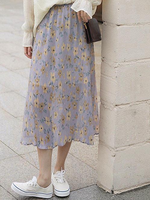 SH833 花朵森系雪紡半身裙