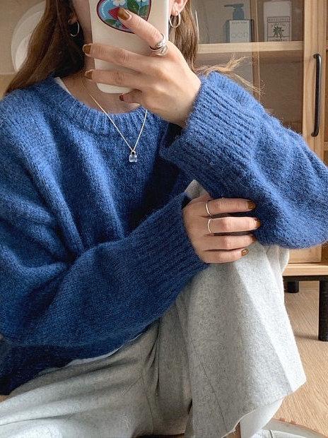 SH588 簡約純色休閒針織上衣