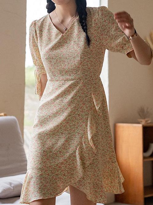 SH063 氣質荷葉邊碎花連身裙