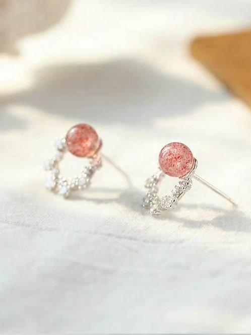 CR006 925銀草莓晶耳環