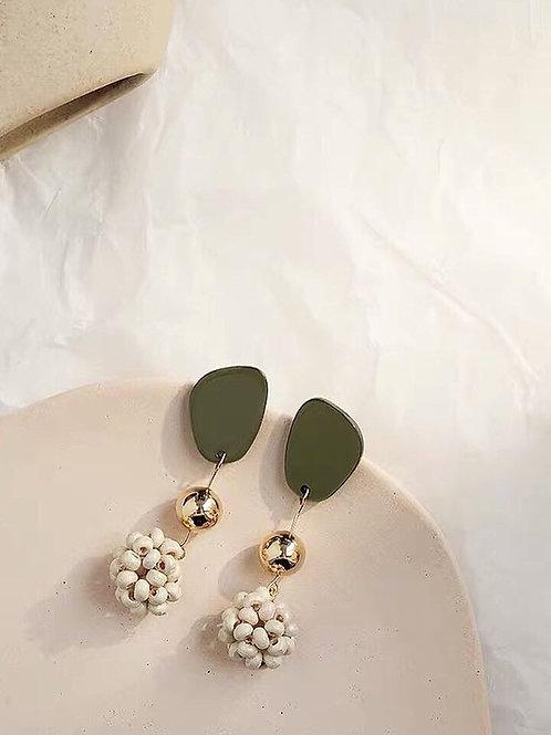 韓風創意木珠耳環 (925銀針/耳夾)
