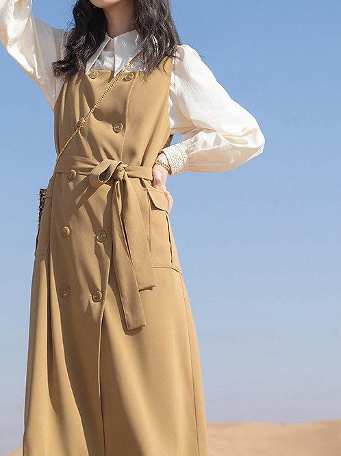 SH528 復古雙排扣連身裙