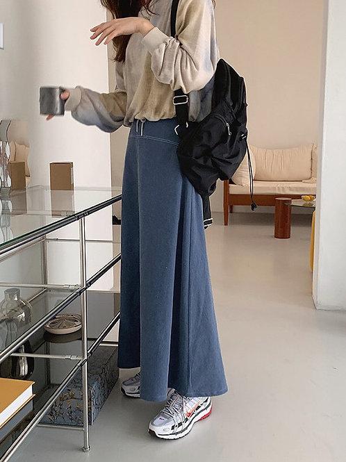 KR027 韓國氣質牛仔布長裙