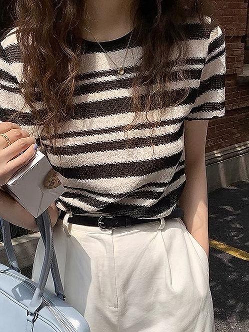 SH003 休閒條紋針織上衣