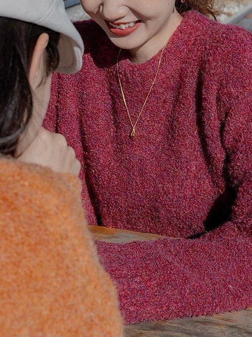 SH696 軟絨針織純色百搭上衣