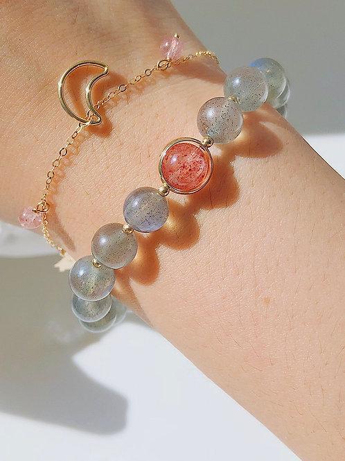 CR098「情商/人緣之石」月光石草莓晶手鍊
