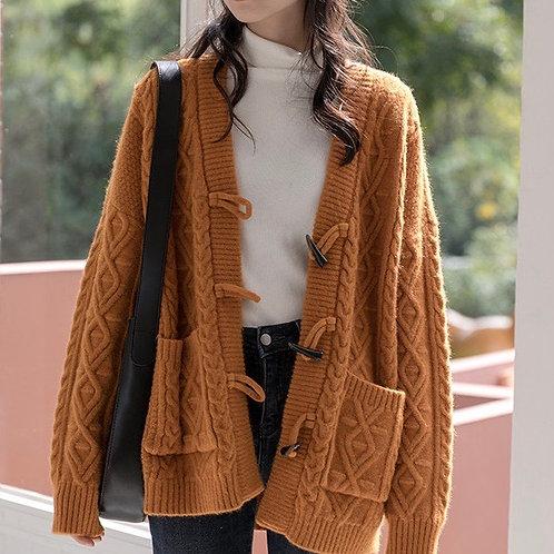 SH617 秋冬氣質麻編針織外套
