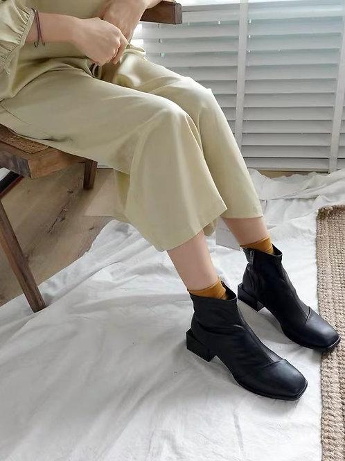 SE215 復古方頭拉鍊短靴